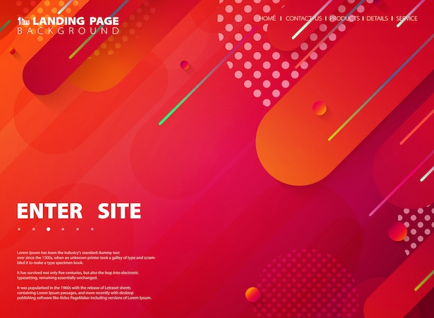 Abstract tech colorful stripe line web landing page background.