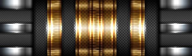 Абстрактный технический градиент матового золота с черным фоном слоя материала