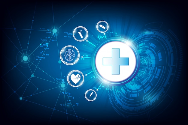 Abstract tech health care innovation background