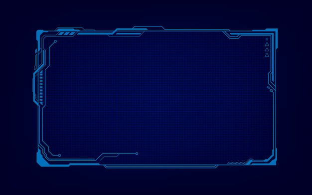 Abstract tech sci fi hologram frame template design