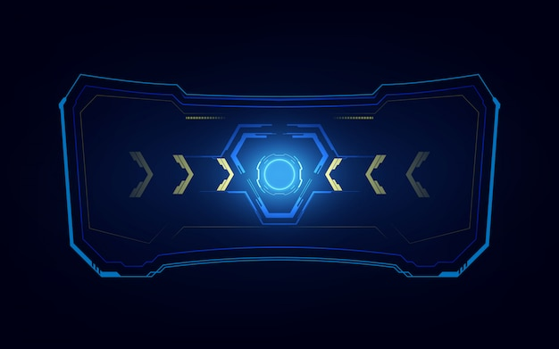 Abstract tech sci fi hologram frame template design