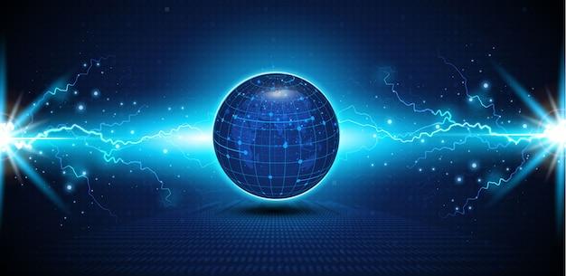 抽象的なテック球デジタル回路パターンは、概念の背景を革新します。