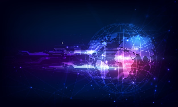 抽象的な技術球デジタル回路パターンは概念を革新します