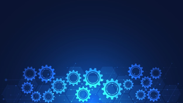 Abstract technical background with cogs and gear wheel mechanisms. Premium Vector