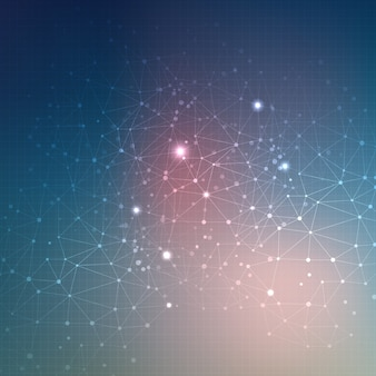 Abstract techno background with connecting dots