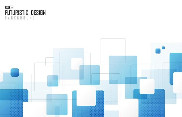 青い正方形の装飾的なアートワークの抽象的なテクノデザイン