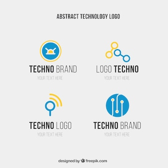 Abstract techno logo templates in blue and yellow colors