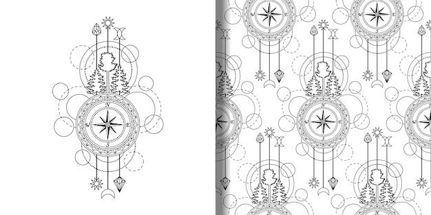 抽象テクノプリントとコンパスツリーと幾何学的要素で設定されたシームレスなパターン