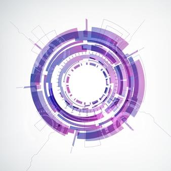 ミドルフラットでカラフルな丸い形の抽象的なテクノジーホワイト