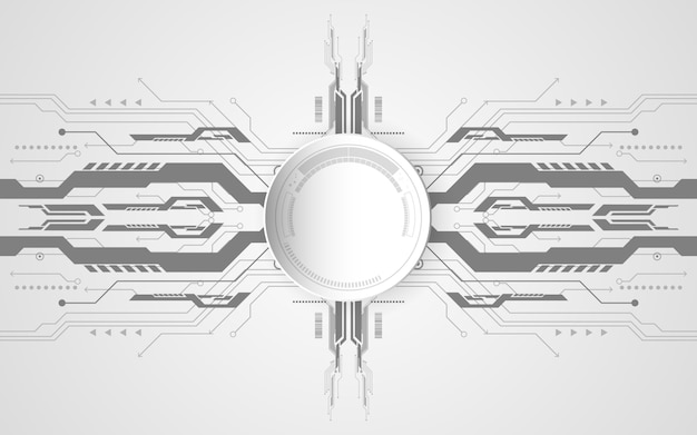 Abstract technological background concept with various technology elements.