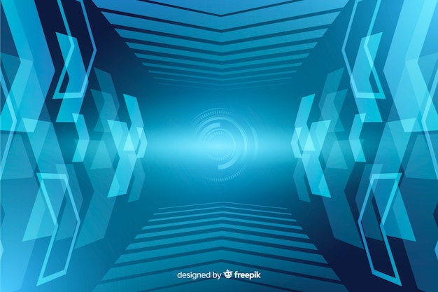 Abstract technological light tunnel background