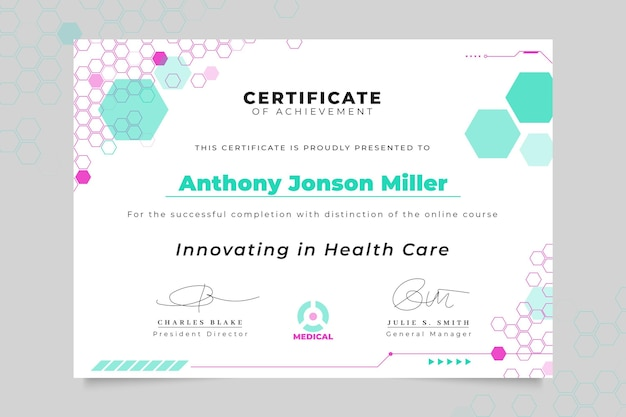 Abstract technological medical certificate