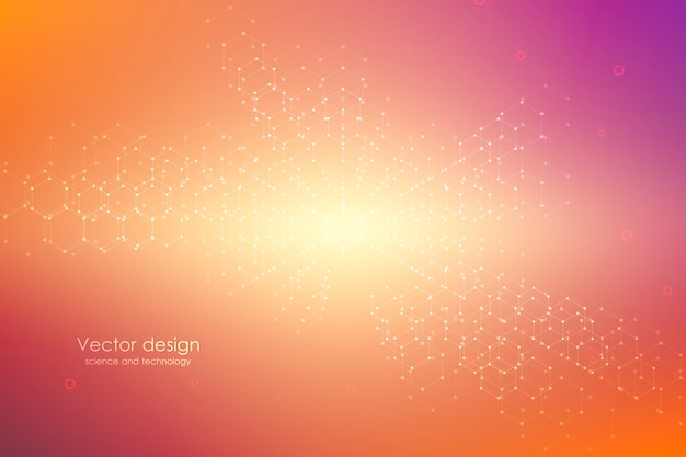 Abstract technological and scientific background with hexagons