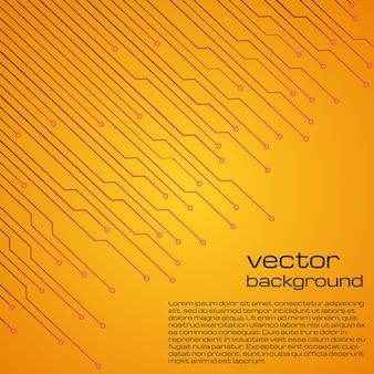 マイクロチップの要素と抽象的な技術的な黄色の背景。回路基板の背景のテクスチャ。ベクトルイラスト。