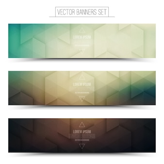 Abstract technology 3d panoramic banner set