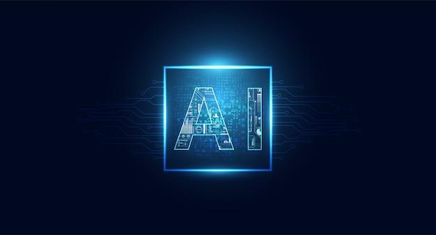 Абстрактная технология ai вычислительного чипсета на схеме