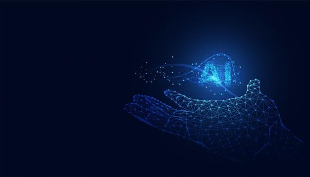 Abstract technology ai computing on circuit hand