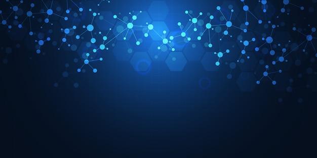 分子構造とニューラルネットワークによる抽象的なテクノロジーとイノベーションの背景。分子dnaと遺伝子工学。技術的および科学的概念。