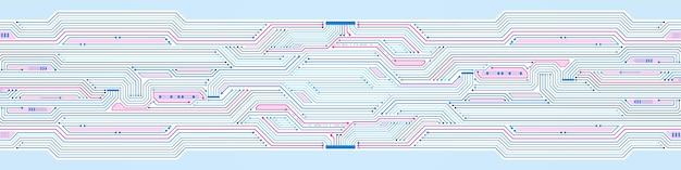 추상 기술 배경, 파란색과 분홍색 회로 기판 패턴, 마이크로칩, 전력선