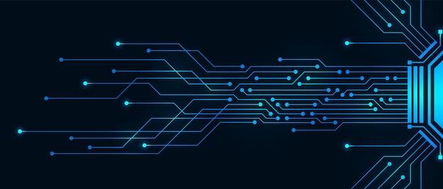 추상 기술 배경, 파란색 회로 기판 및 마이크로칩, 디지털 전력선