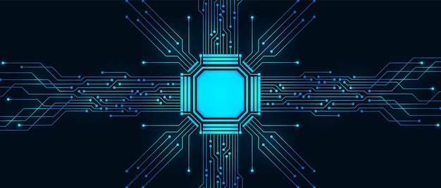Abstract technology background, blue circuit board and microchip, digital power line