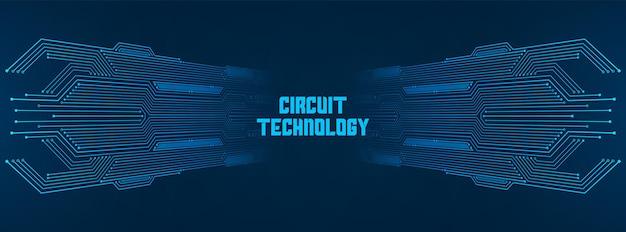 추상 기술 배경, 파란색 회로 기판 패턴, 마이크로칩, 전력선, 빈 공간