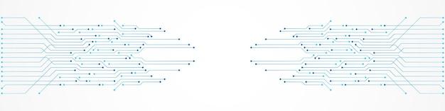 추상 기술 배경, 파란색 회로 기판 패턴, 마이크로칩, 전력선