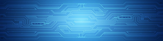 抽象的な技術の背景、青い回路基板のパターン、マイクロチップ、電力線