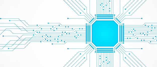 Abstract technology background, blue circuit board pattern and microchip