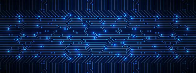 전기 조명 마이크로 칩 파워 라인 추상 기술 배경 파란색 회로 기판 패턴