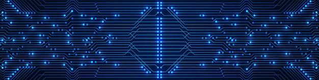 抽象技術背景電灯マイクロチップ電力線と青い回路基板パターン