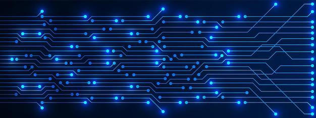 전기 빛 마이크로 칩 추상 기술 배경 파란색 회로 기판 패턴