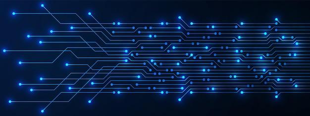추상 기술 배경, 빛, 마이크로칩, 전력선이 있는 파란색 회로 기판 패턴