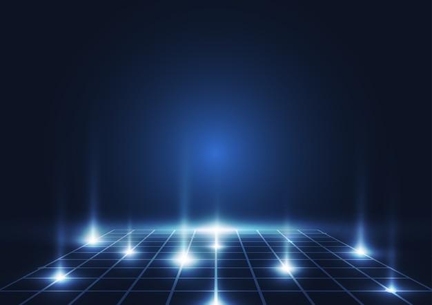 抽象的な技術の背景。青く輝く