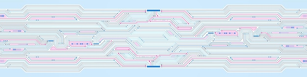 Abstract technology background, blue and pink circuit board pattern, microchip, power line