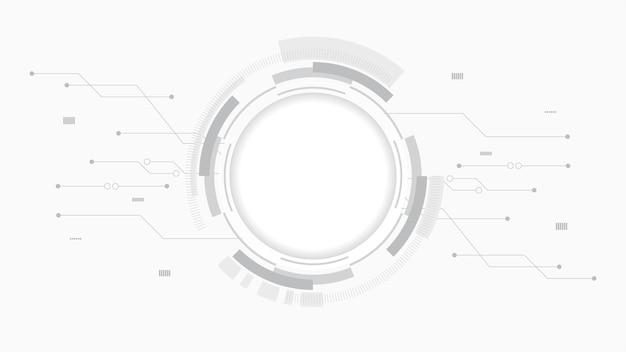 추상적 인 기술 배경 원 기하학 장식, 과학 및 기술 디지털 라인 흰색 배경