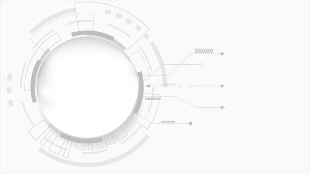 추상적 인 기술 배경 원 기하학 장식, 과학 및 기술 흰색 배경