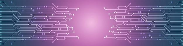 抽象的な技術の背景、カラフルな回路基板のパターン、マイクロチップ、電力線