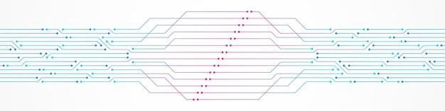 추상 기술 배경 화려한 분홍색과 파란색 그라데이션 회로 기판 패턴 마이크로 칩