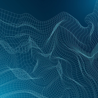 Abstract technology background design with wavy line
