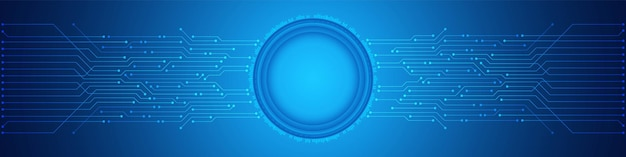 Abstract technology background, digital circle, blue circuit board pattern, microchip, power line