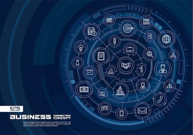 추상적 인 기술 배경입니다. 통합 원, 빛나는 얇은 선 아이콘이있는 디지털 연결 시스템. 가상, 증강 현실 인터페이스 개념. 미래 infographic 그림