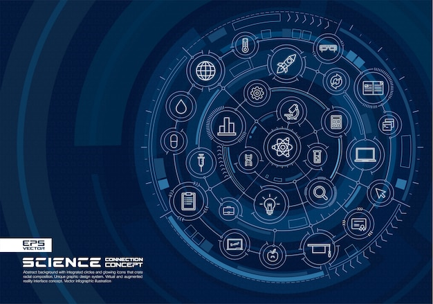 Abstract technology background. digital connect system with integrated circles, glowing thin line icons. virtual, augmented reality interface concept.  future infographic illustration