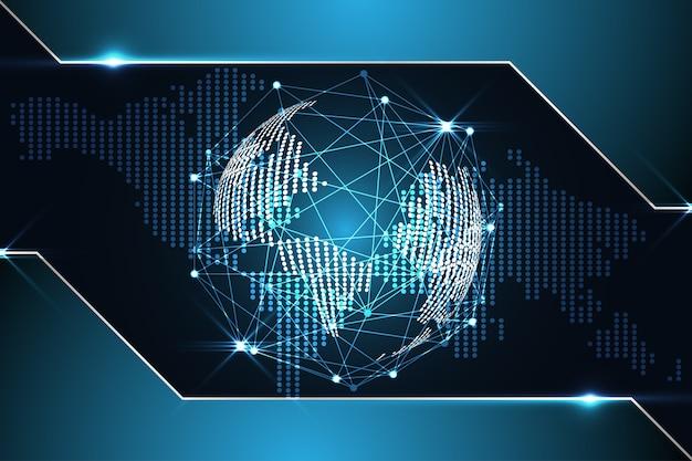 Abstract technology background digital world map dot metallic blue on hi tech future desig