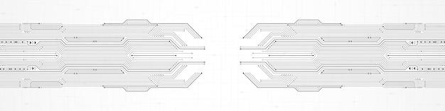 추상 기술 배경, 회색 회로 기판 패턴, 마이크로칩, 전력선, 빈 공간