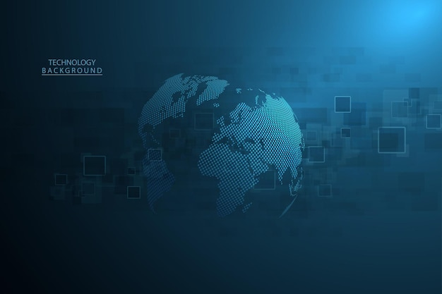 추상 기술 배경 하이테크 통신 개념 글로벌 웹, 연결, 과학에 대한 미래의 디지털 혁신 배경. 벡터 일러스트 레이 션