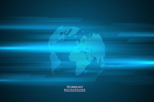 抽象的な技術の背景ハイテク通信の概念グローバルウェブ、接続、科学のための未来的なデジタルイノベーションの背景。ベクトルイラスト