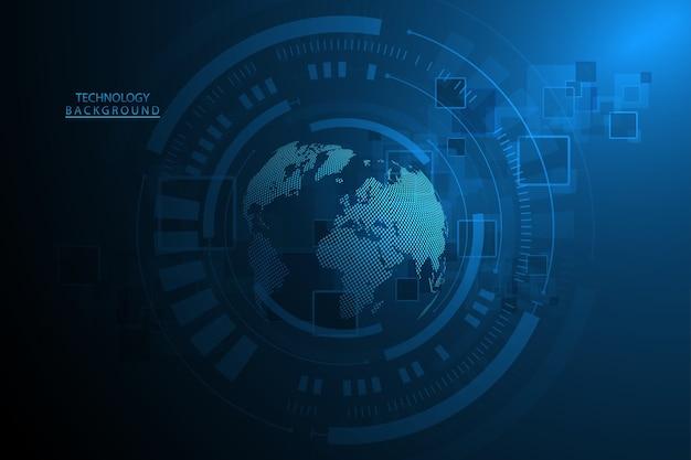 抽象技術の背景ハイテク通信の概念グローバルウェブ、接続、科学のための未来的なデジタルイノベーションの背景。