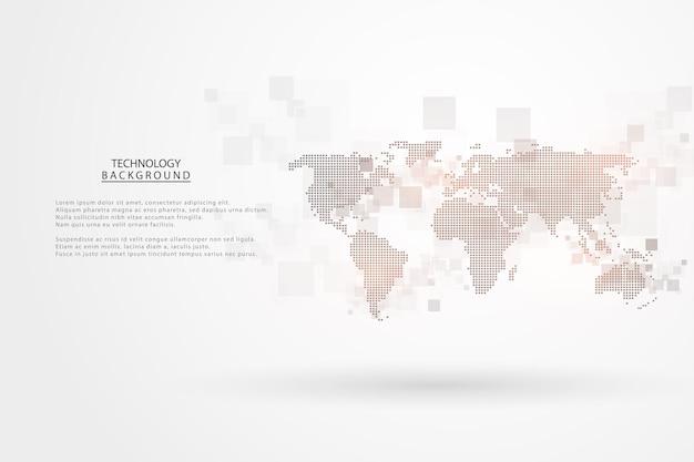 Абстрактный фон технологии привет-тек концепция коммуникации футуристический фон цифровых инноваций для глобальной сети, связи, науки.