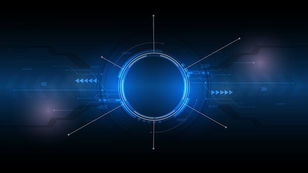 Абстрактный технологический фон, высокотехнологичная коммуникационная концепция, инновационный фон, наука и технологии цифровой синий фон